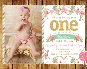 Shabby Chic First Birthday Party Invitation, Gold Glitter Birthday Invitation, Pink and Mint, One, Floral Invite, First Birthday