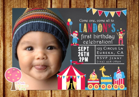 Circus Birthday Party Invitation Chalkboard Invitation 1st