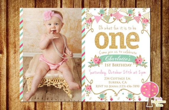 Shabby Chic First Birthday Party Invitation Gold Glitter