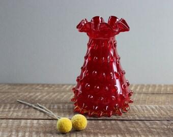 Vintage Fenton Art Glass Amberina Hobnail Vase
