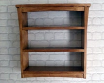Handmade Arts and Crafts Style Wooden Wall Shelf Unit