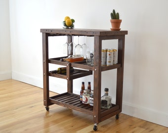 Handcrafted Bar Cart made with 100% Reclaimed Wood - Includes Wine Rack - Free Shipping (Bar, Beer, Wine, Eco Friendly)