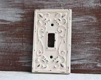 Light Switch Cover, Ivory Light Switch Plate, Cast Iron Metal Fleur de lis Single Switch plate cover, Cottage Chic Electrical Cover