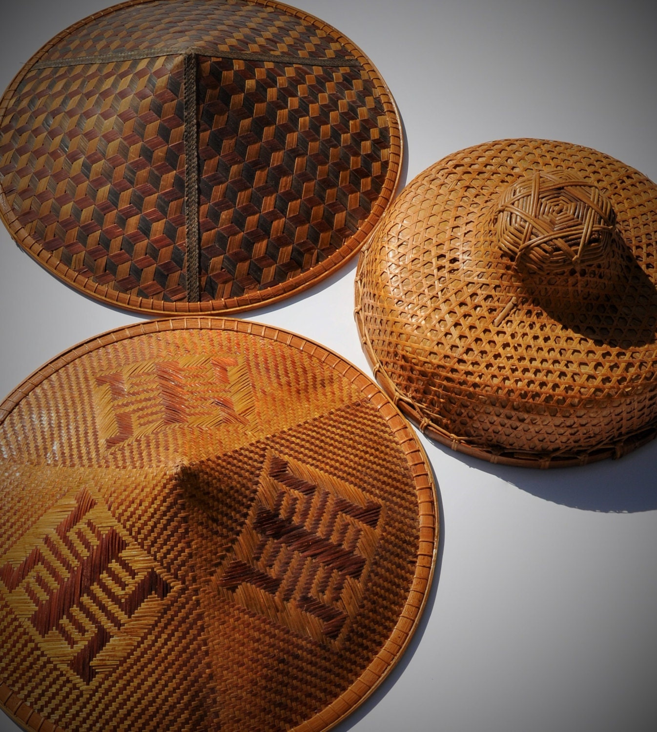 Vintage Coolie Hat Hand Made Woven Bamboo Amp Banana Leaves