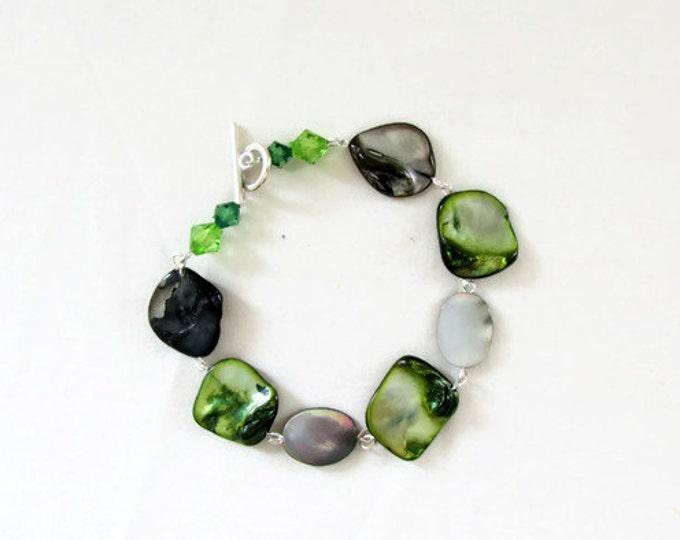 Green shell bracelet, handmade in the UK