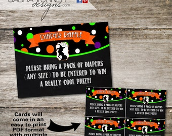 INSTANT DOWNLOAD  • Halloween Baby Shower Diaper Raffle Card • Halloween Baby Shower • Witch Baby Shower • Diaper Raffle Card