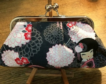Japanese Print Clutch Purse - Kimmi Doll, Harajuku Girl