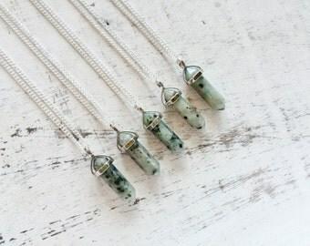 Necklace pendant natural gemstone lotus jasper, silver plated boho