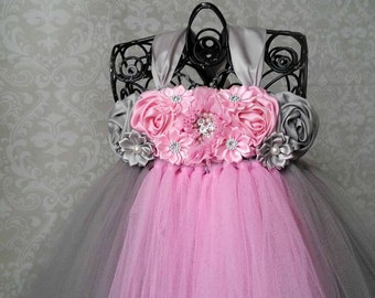 Flower Girl Dress, Pink and Gray Tutu Dress