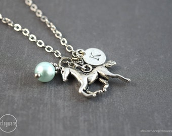 Personalized Silver Horse Necklace - Horse Pendant - Horse Equestrian Jewelry - Birthstone Jewelry - Birthstone Necklace