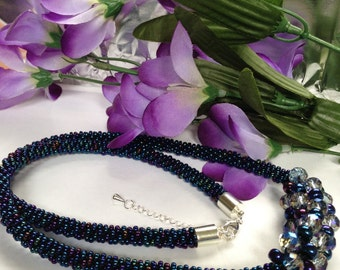 Blue crystal necklace.
