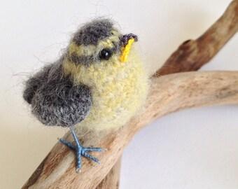 Baby bluetit fibre art bird sculpture bird-lover gift