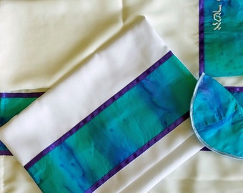 4 Mother's Silk Tallis in shades of Teal and Purple