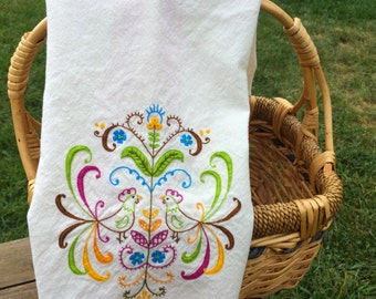 Hand-Embroidered Cotton Kitchen Towel Dancing Intertwining Colorful Chickens Dish Towel or Tea Towel