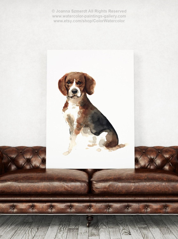 Beagle Dog Art Print Pets Illustration Giclee Fine Art