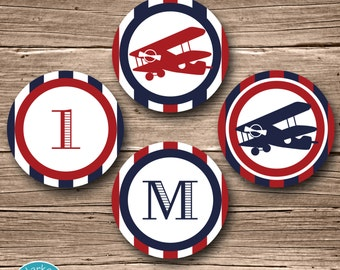 Airplane Party Circles, Airplane Birthday, Airplane Cupcake Toppers, Plane Party Circles Airplane Party Decor, Red and Navy