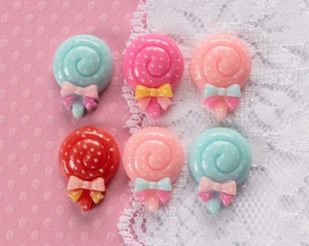 6 Pcs Fancy Polkadot Lollipop Cabochons - 20x15mm