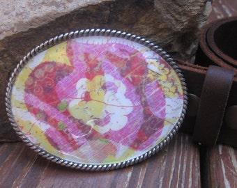belt buckle Smiley face belt buckle The happy gardener yellow pink & white flower belt buckle boho belt buckle silver oval happy belt buckle