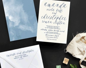 Watercolor Haze Custom Wedding Invitations Sample