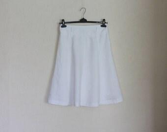 Snow White  Linen Skirt Summer Romantic A-line Midi  Lined Medium Size