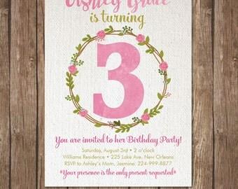 Girl THIRD BIRTHDAY INVITATION Printable Invite 3rd Baby Party Turning three  DiY