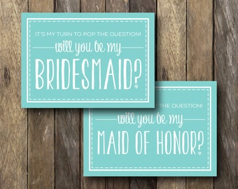 Pop the Question Bridesmaid Card - Instant Download - Printable Bridesmaid Card - My Turn to Pop the Question