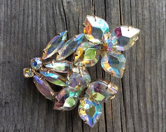 Large 1950s AB aurora borealis Rhinestone Crystal Flower Bouquet Brooch - Estate Jewelry, Mad Men, 1950s