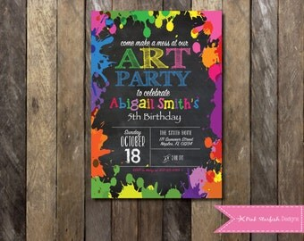 Art Party Invitation, Chalkboard Rainbow Art Party Invitation, Paint Party Invitation, Art Party Birthday, Paint Splatter, Birthday Party
