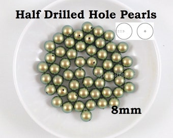 5818 IRIDESCENT GREEN 8mm Half Hole Swarovski Pearls 8pcs or 20 pcs