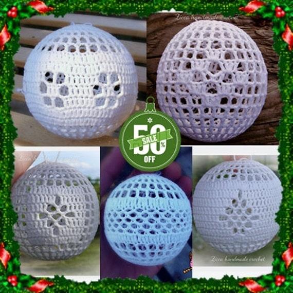 50 % off 5 crochet christmas balls ornament pattern