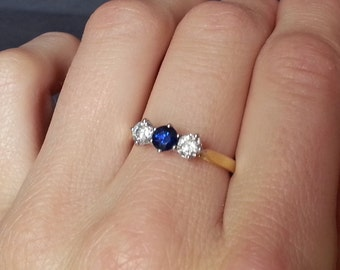 Vintage Blue Sapphire Diamond Ring, Engagement Ring, Gold Sapphire & Diamond Ring, Vintage Wedding Jewelry, Wedding Band