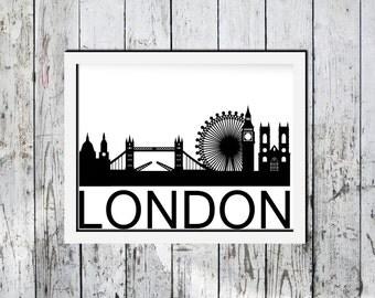 Downloadable print, London skyline, United Kingdom, black and white, Wall decor, printable wall art