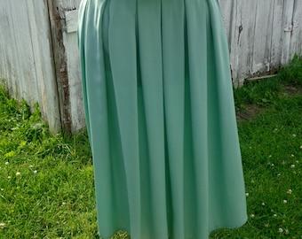 Vintage Silk/Pleated Teal Skirt, Knee Length, Midi/A-Line/High Waist, Size 4-6, Small