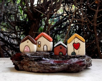 Gift Idea , Housewarming gift , Miniature gift for him , Ceramic houses on driftwood , Collectible rustic beach cottages , Ceramics pottery
