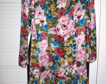 Vintage Michelle Stuart Floral Ruffled Bottom Dress, Summer Frilly Fun Beautiful Find 14