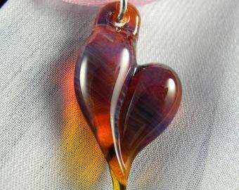 Amber Purple Borosilicate Glass Heart Pendant, lampwork, flamework, blown boro glass