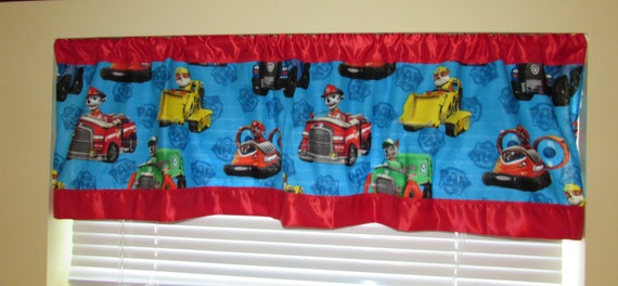 Paw Patrol curtains/cotton valance/red satin edge