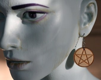 Laser Etched Wooden Pentacle Earrings
