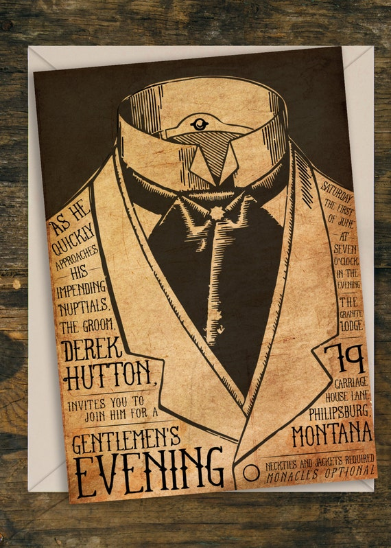 Vintage/Steampunk Bachelor Party Invitation