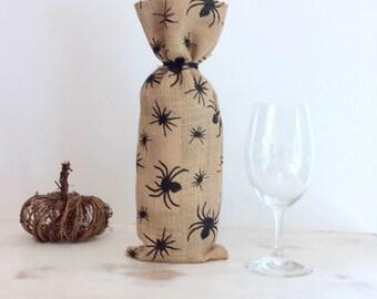 Halloween Burlap Wine Bag Spider Motif Bottle Bag Halloween Treat Bag Burlap Wine Tote Black Spider Wine Bag Wine Wrapping Burlap Bottle Bag