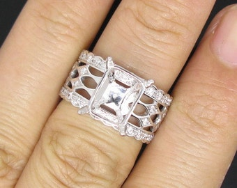 Emerald Cut Wide Band Diamond Setting