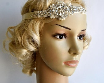 Crystal Pearls Rhinestone , Bridal Headband, Wedding Headband, Wedding Headpiece, Halo Bridal Headpiece