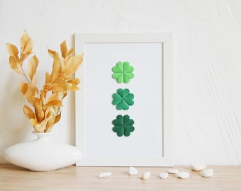 Home Decor, Lucky Clover, Poster | Origami gift, Paper art, Office wall decor, Modern minimalist, Green home decor, St. Patrick gift, A4