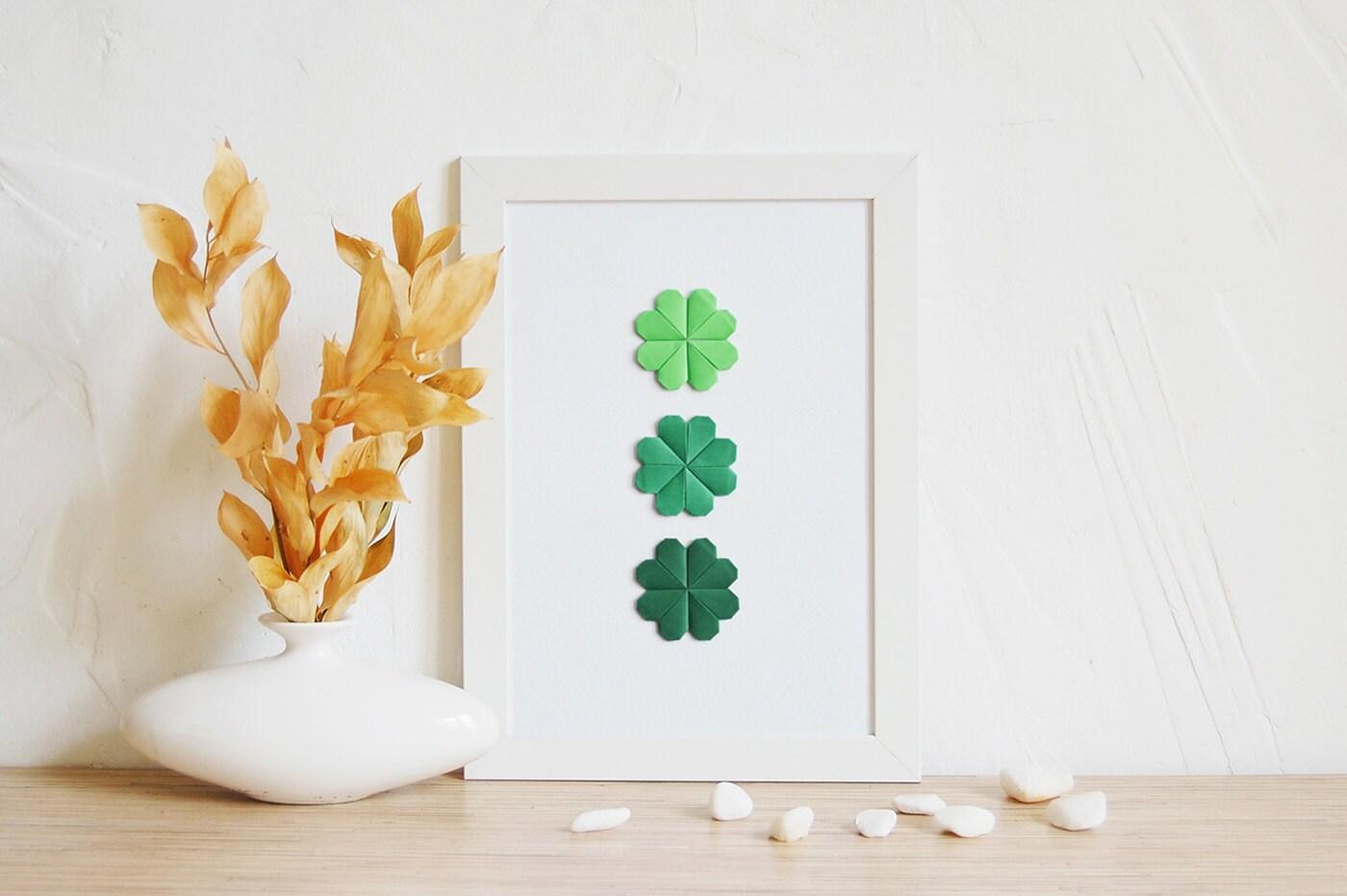 Home Decor Lucky Clover Poster Origami Gift Paper Art