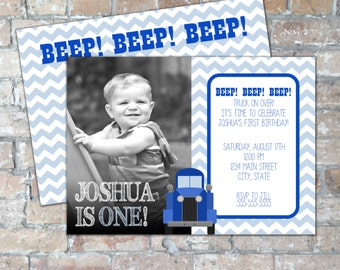 Chevron Blue Truck Birthday Party Invite {With Picture} {Multiple Color Options} {Digital Item}