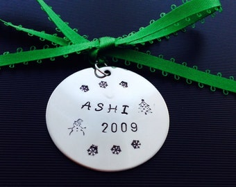 Personalized Christmas Ornament, Kids Name Ornament, First Christmas, Wedding Gift, Personalized Date, Hand Stamped