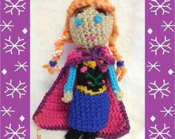 Crochet Princess Doll With Removable Cape Inspired by Anna from Frozen