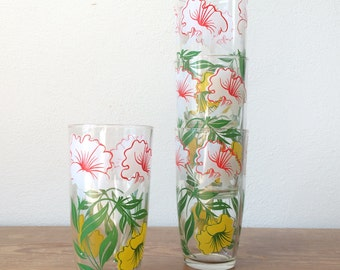 Vintage Floral Glasses - Set of 4 - Yellow, Green, White Flower Tumblers