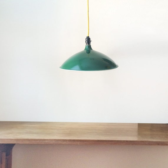 Vintage Metal Pendant Light With Yellow Cord Industrial
