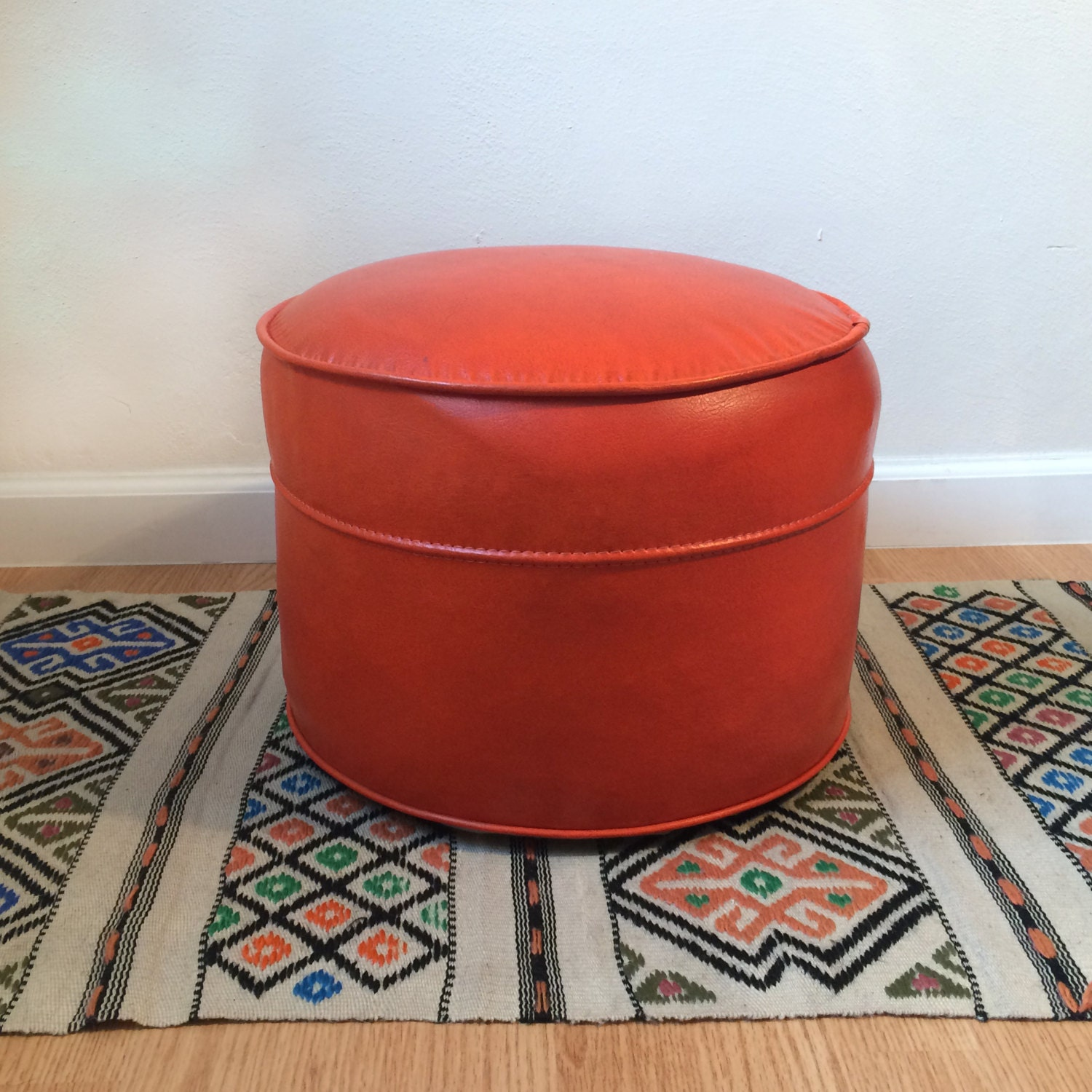 Vintage Red Pouf Ottoman Orange Hassock Stool